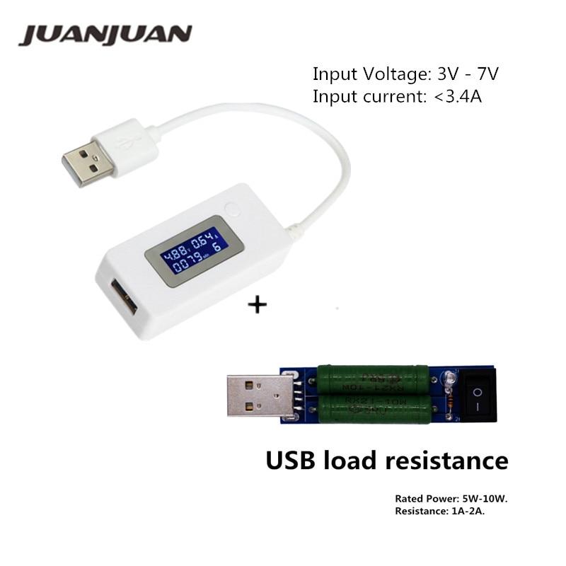 USB LCD képernyő töltő teszter Hordozható monitor Tápegység akkumulátor érzékelő Áram feszültségmérő + USB kisülési terhelési ellenállás