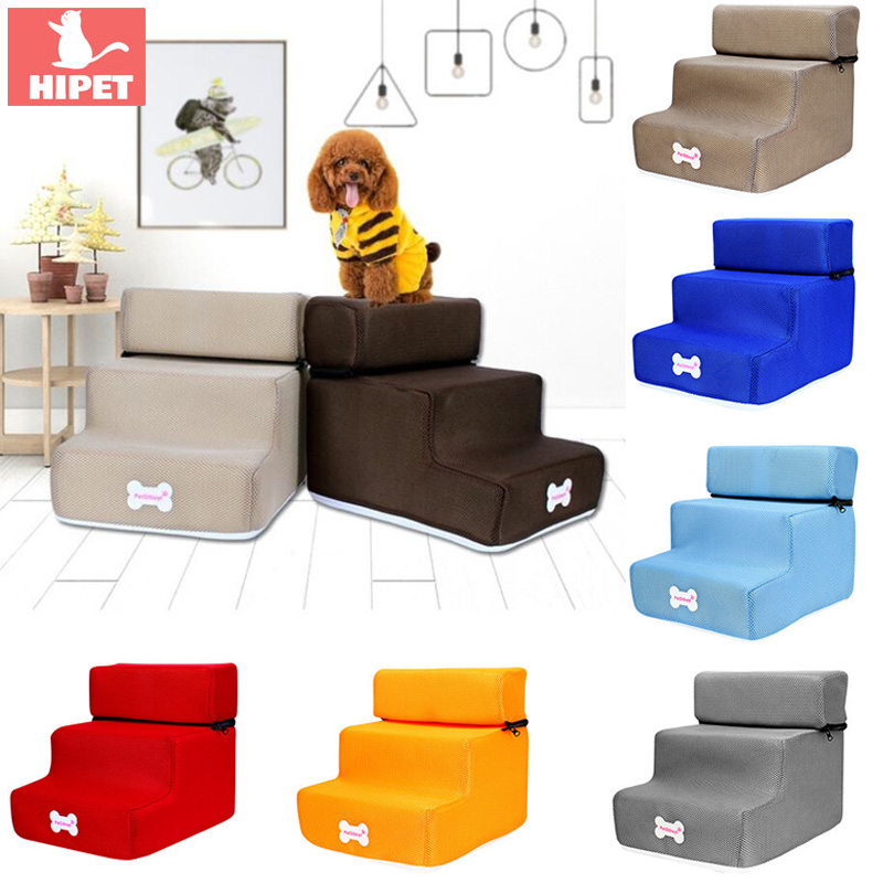 3 Steps Pet Dog Stairs Removable Puppy Dogs Bed Stairs Anti-slip Washable Breathable Mesh Dog House Cats Ladder Pet Supplies