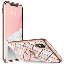 For iphone Xs Max Case i Blason Cosmo Snap Slim Marble Cover with Built in Rotatable Ring Holder Kickstand Support Car Mount