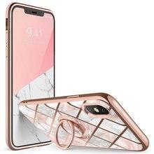 Iphone Xs için Max durumda i Blason Cosmo yapış ince mermer kapak dahili dönebilen halka tutucu kickstand desteği araç montaj