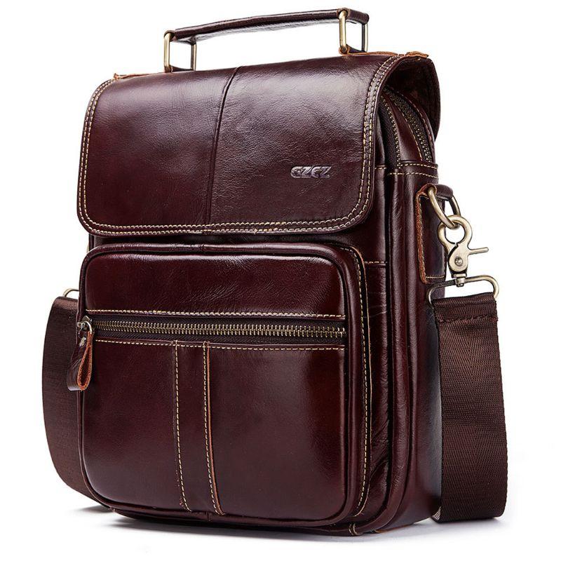 Wild Simple Design Men Genuine Leather Shoulder Bag High Quality Male Messenger Business Briefcase Holder Sling Handbag