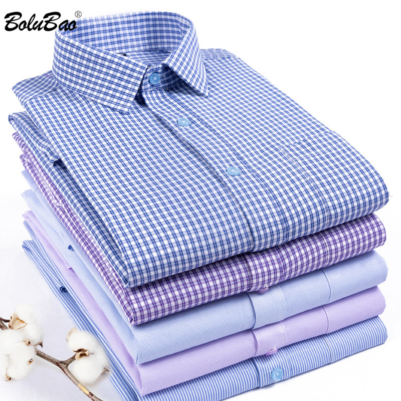 BOLUBAO Men Plaid Shirts Brand Prom Dress Shirts Autumn Male Evening High Quality Long Sleeve Dress Business British Style Shirt