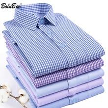 BOLUBAOผู้ชายลายสก๊อตเสื้อพรหมเสื้อฤดูใบไม้ร่วงชายเย็นคุณภาพสูงแขนยาวสไตล์อังกฤษเสื้อ