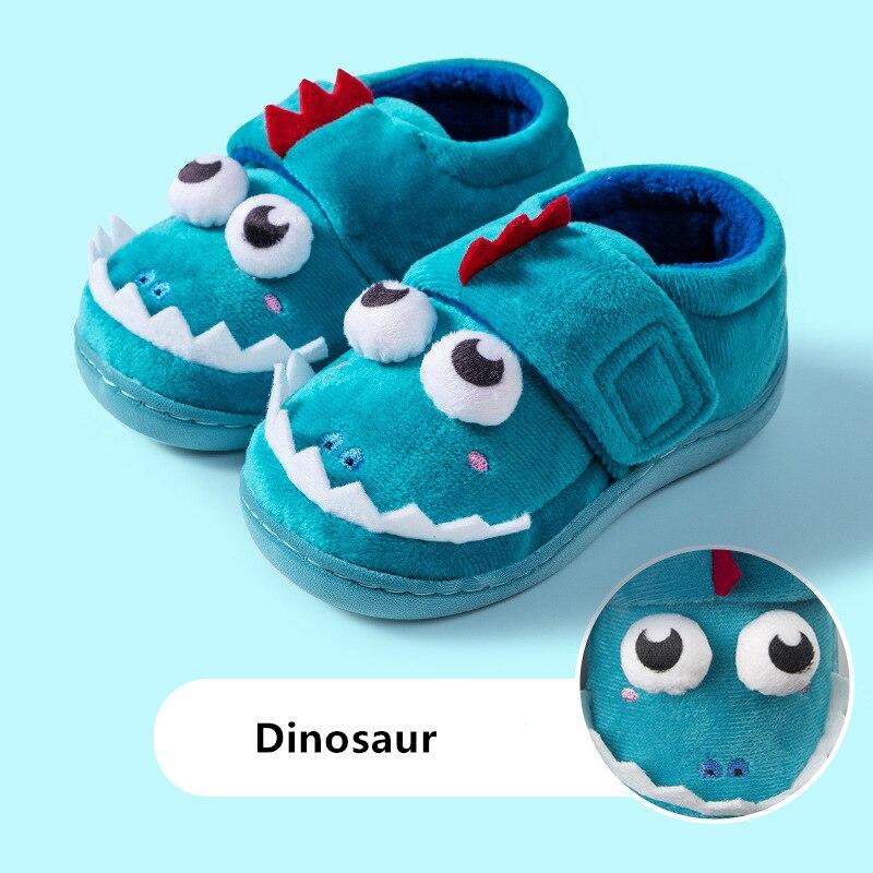 Тапочки для мальчиков и девочек, домашняя обувь с милым мультяшным динозавром, теплые меховые тапочки, детские домашние тапочки с единорогом, Осень зима|Тапочки| | АлиЭкспресс
