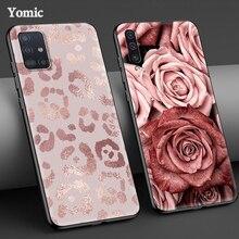 Rosa Rose Bild Fall für Samsung Galaxy A51 5G A71 A50 A21s A31 A10 A41 A20e A70 A30 A11 a40 A12 A20s A10s A01 Schwarz Abdeckung