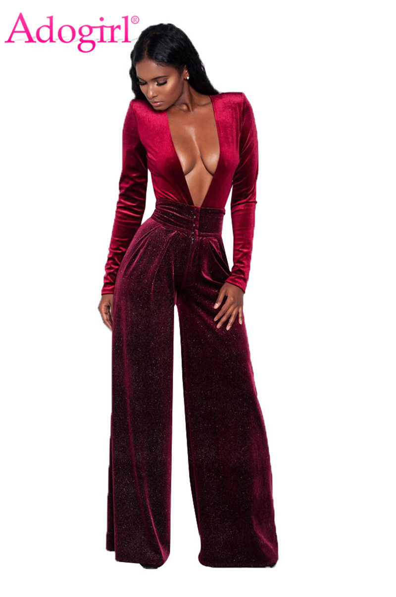 Adogirl Christmas Velvet Jumpsuit 2019 Autumn Winter Women Sexy Deep V Neck Long Sleeve Casual Romper Wide Leg Pants Overalls