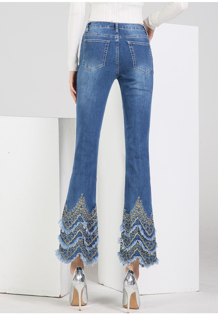 KSTUN FERZIGE Women's jeans brand stretch hight waist blue embroidered bootcut denim jeans flares slim fit women trousers large size 6