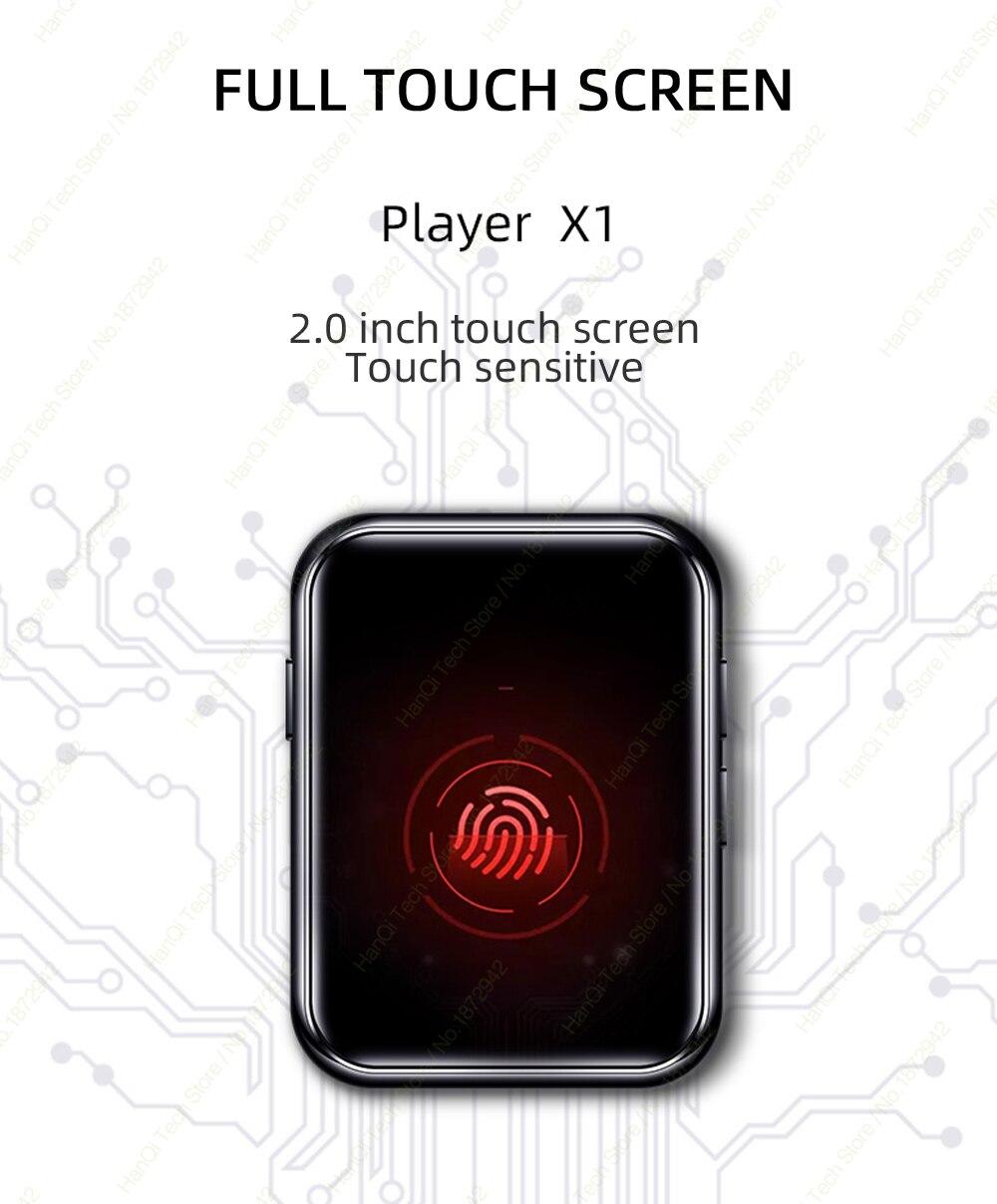 Benjie x1 tela de toque completa bluetooth mp3 player leitor de música de áudio portátil com alto falante embutido rádio fm