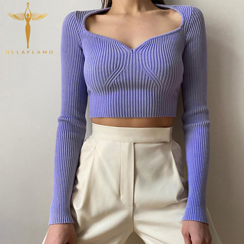 Sexy V Neck Solid Sweater Tops Women Casual Long Sleeve Knitted Slim Short Purple Pullover Jumper Harajuku Female Clothing v neck zipper choker jumper