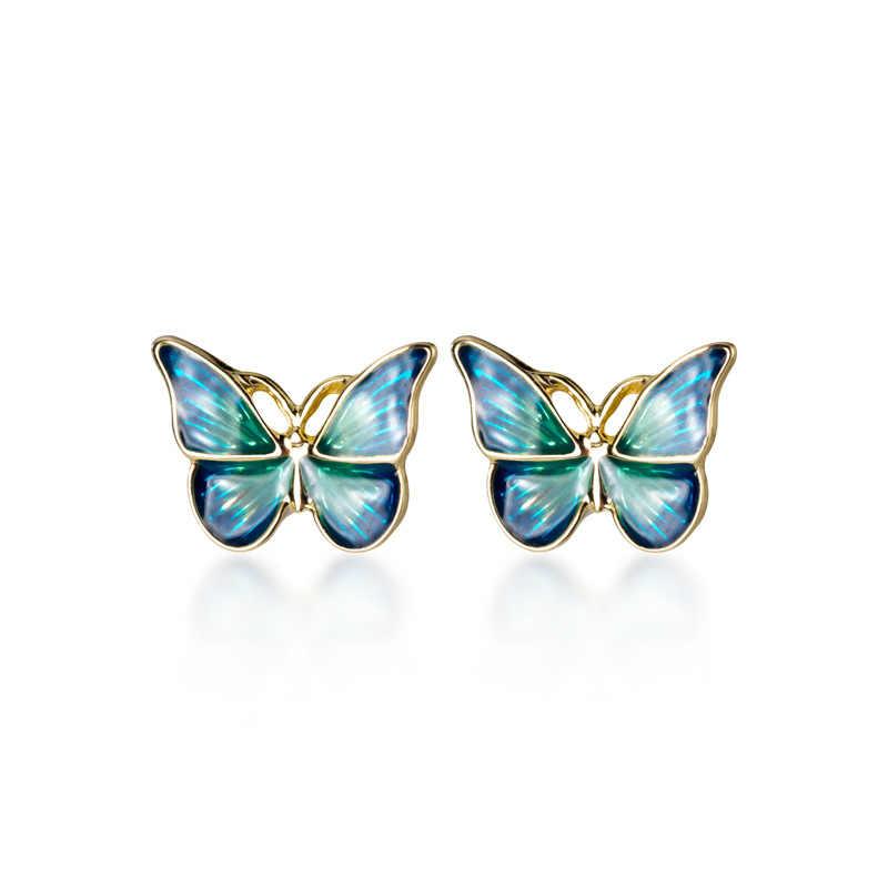 MloveAcc, 100%, pendientes de tuerca de mariposa brillante de plata esterlina sólida azul, esmalte verde dorado, joyería de moda para mujer
