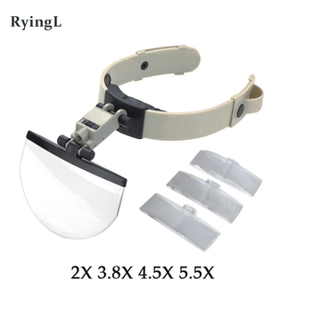 4 Lens 2X 3.8X 4.5X 5.5X Helmet Magnifying Glass with LED Lights Watch Jewelry Repair Reading Headband Magnifier Loupe tool