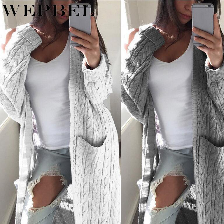 WEPBEL Autumn And Winter Women's Fashion Casual Pocket Knitted Long Sleeve Sweater Cardigan Coats