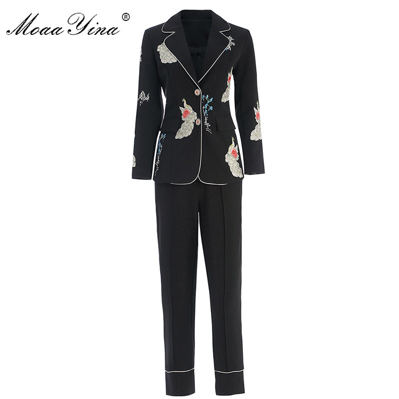 MoaaYina Fashion Designer Set Spring Autumn Women Long Sleeve Embroidery Suit Tops+3/4 Pencil Pants Two-piece Suit