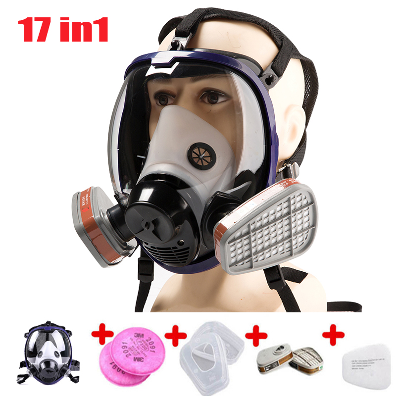 17 In 1 Full Face Gas Mask Silicone Filter Chemical Mask Dust Acid Toxic Air Chemicals Respirators Painting/Pesticide/Laboratory