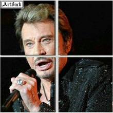 Four spell diamond painting JOHNNY HALLYDAY french singer portrait full square 5d mosaic new hot
