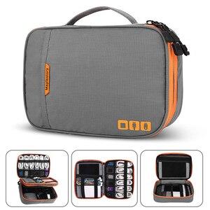Image 1 - Accesorios electrónicos de doble capa espesar bolsa organizadora de Cables Estuche portátil para discos duros, Cables, carga, Kindle, iPad mini