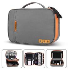 더블 레이어 전자 액세서리 Thicken Cable Storage bag 휴대용 케이스 i Pad mini, 하드 드라이브, 케이블, 충전, Kindle,