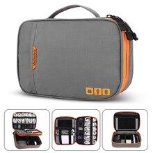 Çift katmanlı elektronik aksesuarları kalınlaşmak kablo organizatör çantası için taşınabilir kılıf sabit sürücüler, kablolar, şarj, Kindle, iPad mini