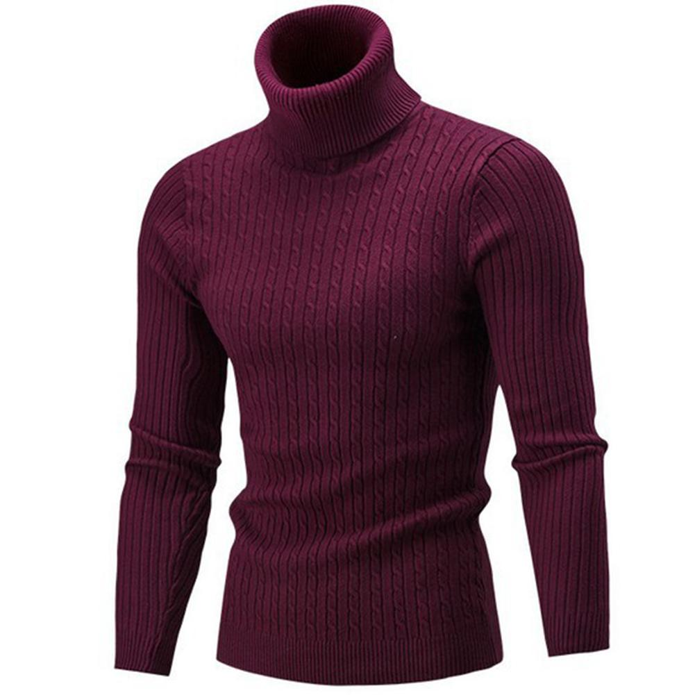 Men Pullover Homme 2019 Turtleneck Solid Color Long Sleeve Knitted Sweater Top Men Sweater Solid Color Jersey Hombre Cuello Alto
