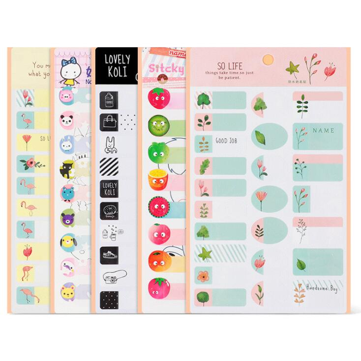 2020 Sharkbang 2PCS Creative Waterproof Cute Sticky Name Pasted Sticker Label Index Paperhand Written Flamingo Adhesive Stickers