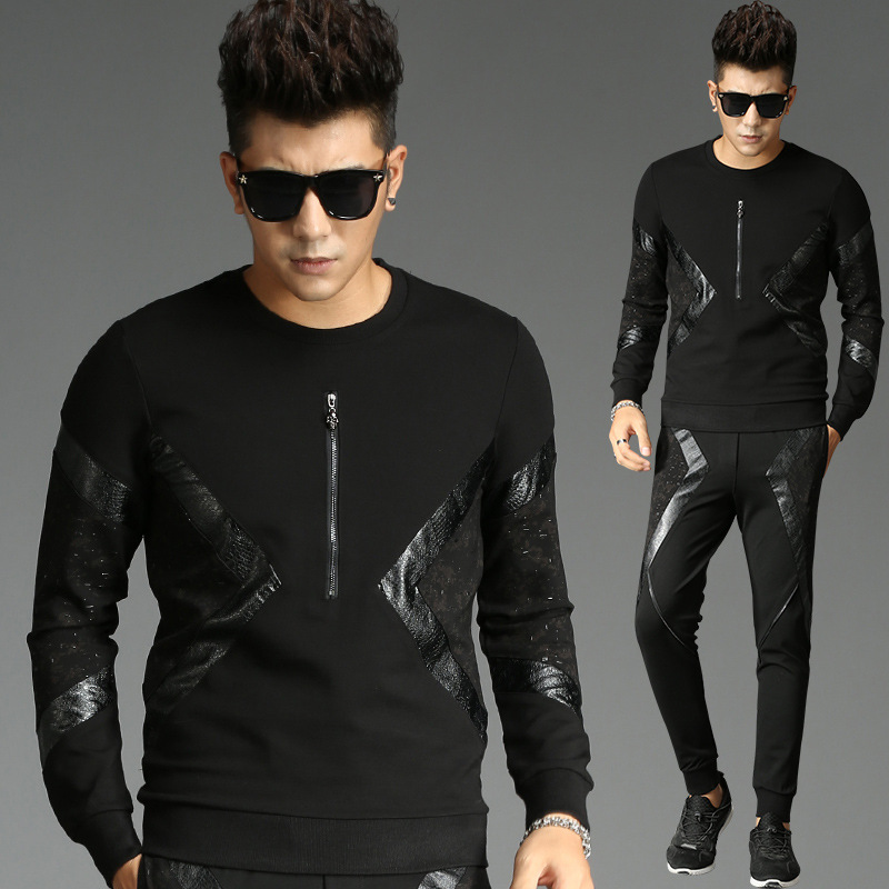 Tao Bai Ye Casual Sweatshirt Men's Long Sleeve Korean-style Slim Fit Trend Students Handsome Set Sports Clothing 2829/829