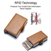 Rfid bloqueando a proteção couro carteira id cartão de crédito titular com 2 metal alumínio caso de cartão de banco de negócios para 14 cartões