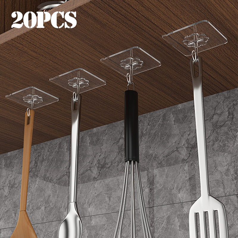 20 pz trasparente forte autoadesivo porta appendiabiti ganci aspirazione carico pesante cremagliera ventosa per cucina bagno 1