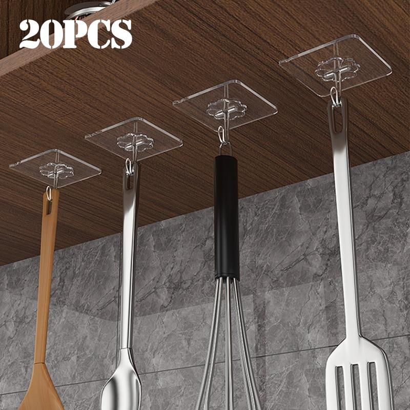 20Pcs Transparent Starke Selbst Adhesive Tür Wand Kleiderbügel Haken Saug Schwere Last Rack Tasse Sauger für Küche Bad