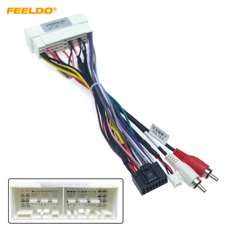 FEELDO 16Pin Car Navi Radio 16PIN Adaptor Wiring Harness For KIA K2/K3/K4/K5 Verna Audio Power Calbe Wire Plug and play #HQ2159