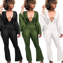 OEAK Women Autumn Flare Sleeve Jumpsuit V-Neck New Skinny Bodysuit Casual Wide Leg Jumpsuits Sexy Club Rompers Vintage Playsuits levis 721 vintage high rise skinny