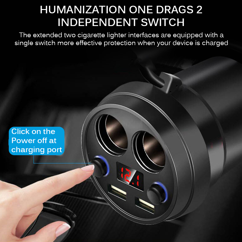 Multi Function Car Charger 2 USB 5V 3.1A Efficient Car Cup Power Socket Adapter With Voltage LED Display Cigarette Lighter|Car Chargers| |  - title=