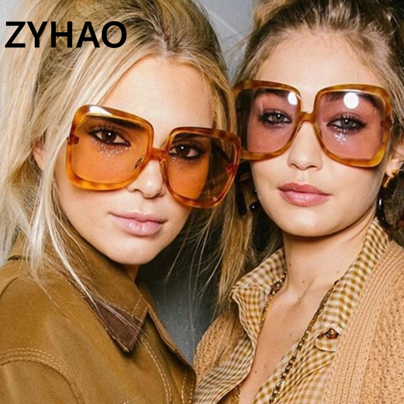 Fashion Women Oversized Sunglasses Vintage Brand Designer Plastic Frame Colorful Sun Glasses UV400 Lentes De Sol Mujer