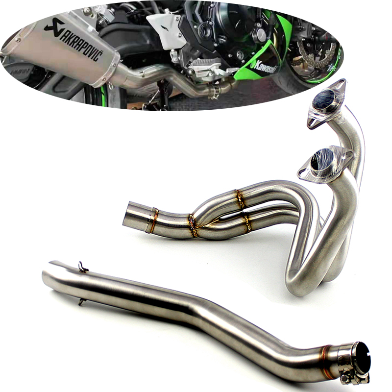 NINJA650 <font><b>Z650</b></font> Motorcycle Full <font><b>Exhaust</b></font> System Middle Pipe without Muffler Header For KAWASAKI NINJA 650 2016 2017 2018 2019 year image
