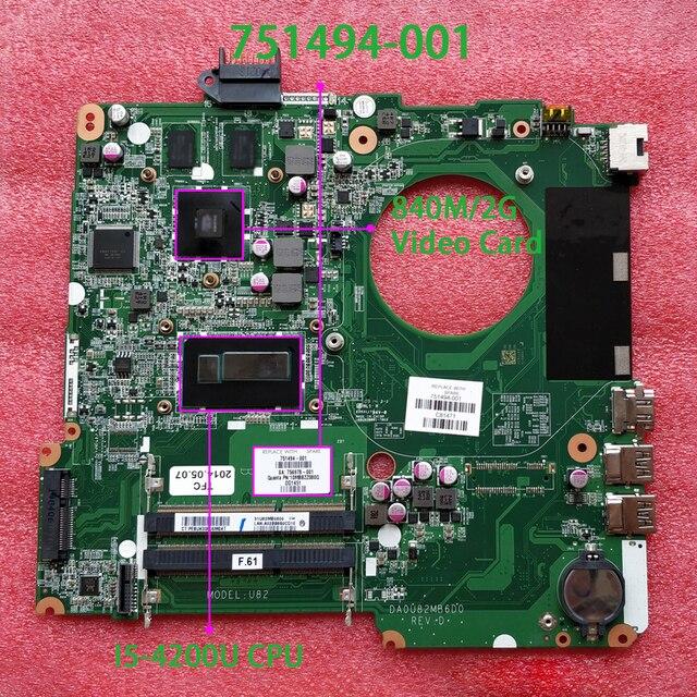 ل جناح HP 15 N سلسلة 15T N200 751494 001 751494 501 751494 601 DA0U82MB6D0 I5 4200U 840 M/2 G اللوحة اللوحة اختبار