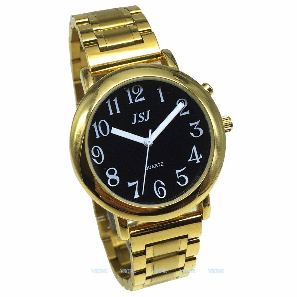 Английские говорящие часы с функцией будильника, говорящая Дата и время, черный циферблат, складная застежка, золотой чехол, бирка-608