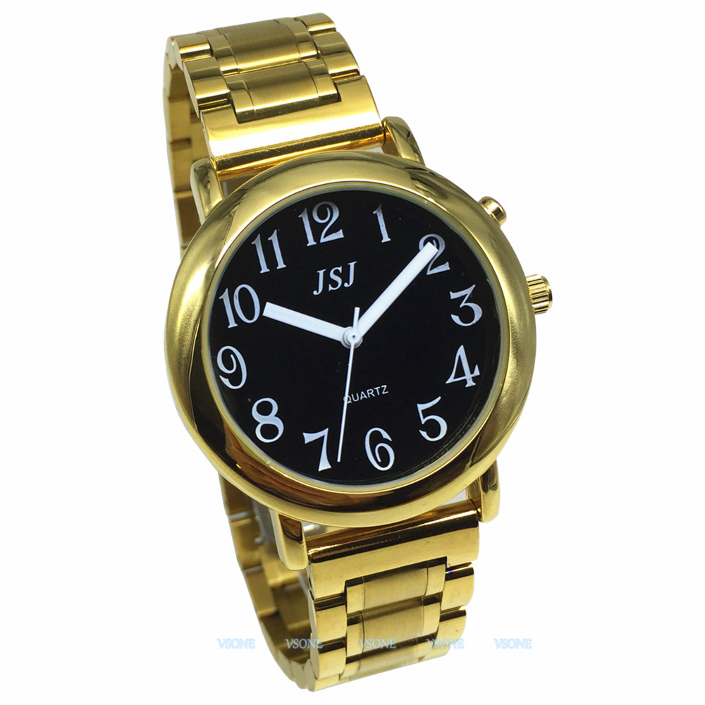 English Talking Watch With Alarm Function, Talking Date And Time, Black Dial, Folding Clasp, Golden Case TAG-608