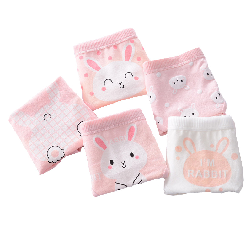 New 4pcs Teenage Panties Rabbit Underpants Young Girl Briefs Comfortable Cotton Pink Panties Kids Underwear Y513