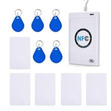 Lector de Tarjetas Inteligentes RFID ACR122U NFC, duplicador de copiadora, software USB S50 13,56 mhz ISO 14443 + 5 uds. UID
