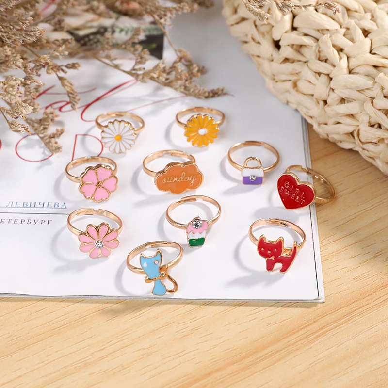 10PCS/Set Korean Style Kids Lovely Rings Girls with Mixed Resin Alloy Child Cartoon Rings Children's Day Jewelry Accessories