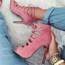 Sexy Lace Up Hollow Ankle Bootie Peep Toe Gladiator Stiletto High Vamp Sandals Woman Dress Runway Flock Summer Boots