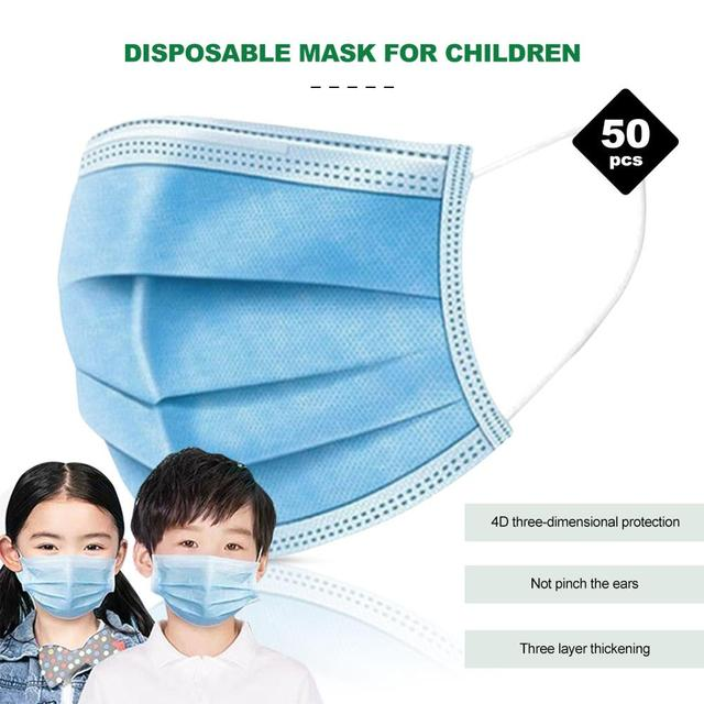 50 pcs Disposable Child Protective Mask Three-layer Dust-proof Bacterial and Flu-proof Mask with Melt-blown Cloth Breathable 5
