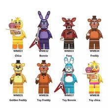 1pc pode escolher cinco noites em desenhos animados blocos de construção fnaf bonnie foxy chica urso figura boneca brinquedos para crianças presentes