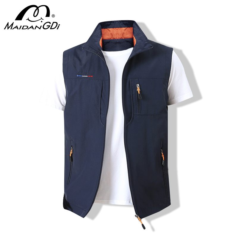 MAIDANGDI Men'sWaistcoat Jackets Vest 2020 Summer New Solid Color Stand Collar  Climbing Hiking Work Sleeveless With Pocket