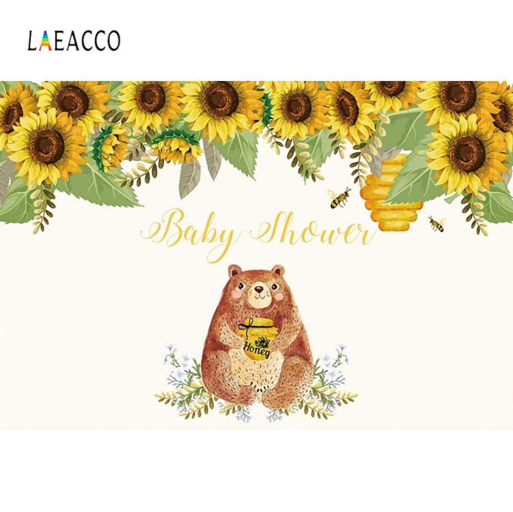Laeacco Happy Birthday Bear And Honey Background Abstract Painting Sunflower Photography Customizable Backdrop For Photo Studio Background Aliexpress