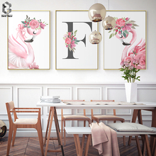 Flamingo Princess Posters Canvas Painting Baby Girls Room Wall Art Prints Nursery Decorative Pink Picture Kids Decoration