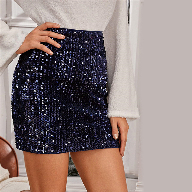 Navy Sequin Bodycon Mini Skirt