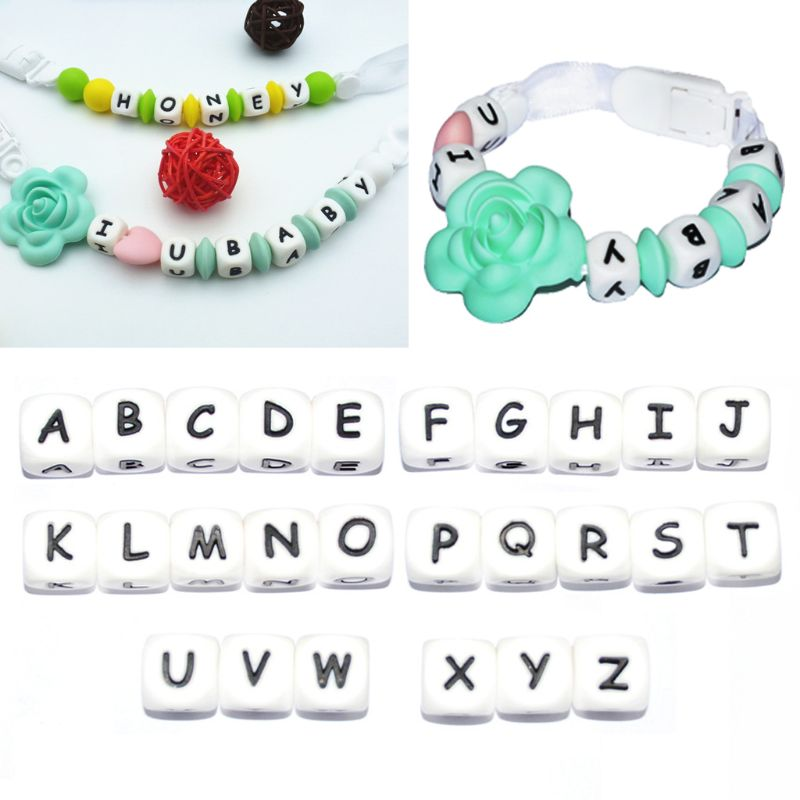 5X 12mm  Safe Silicone Teething Beads For Baby Teether Pacifier letter O