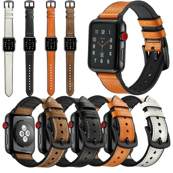 Replacement Genuine Leather Bracelet Watch Band Strap for Apple Watch 40mm/44mm/38/42MM Series 5 4/2/3 Wristands Women Men Band