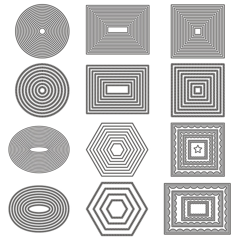 Basic Border Frame Set Metal Cutting Dies For DIY Scrapbooking Photo Album Decorative Embossing Paper Card Crafts Die Cut 2019