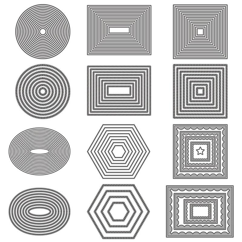 Basic Border Frame Set Metal Cutting Dies For DIY Scrapbooking Photo Album Decorative Embossing Paper Card Crafts Die Cut 2019